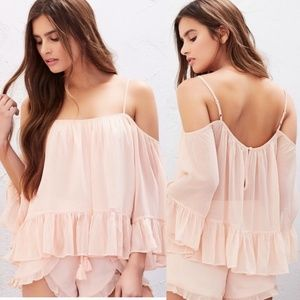 Lovers + Friends Maison Papaya Ruffle Blouse